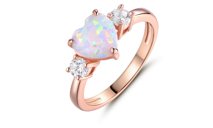 Fire Opal Heart-Cut Promise Ring in 18K Rose Gold Plating | Group