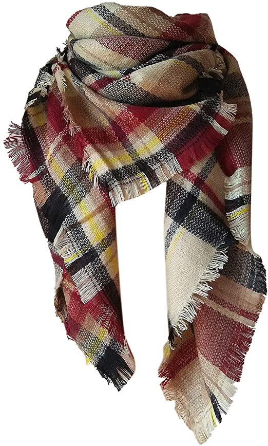 Plaid Blanket Winter Fall Scarfs for Women Warm Oversized Chunky .