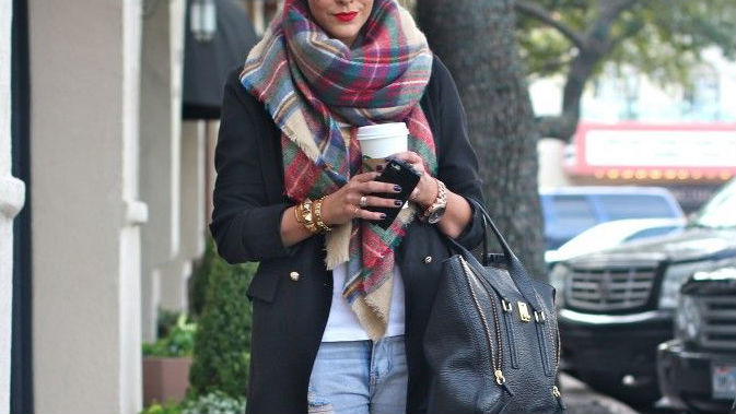 Why You Need an Oversized Plaid Scarf this Season | StyleCast