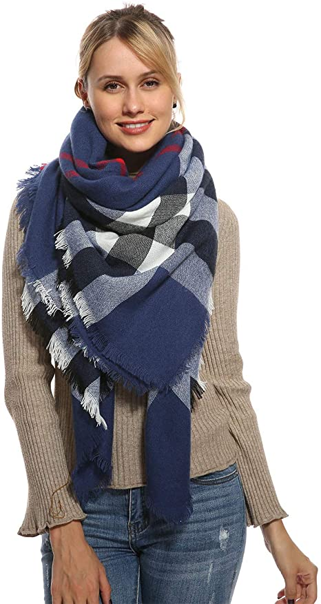 Women Plaid Blanket Scarf for Winter Fall - Navy Oversized Large .
