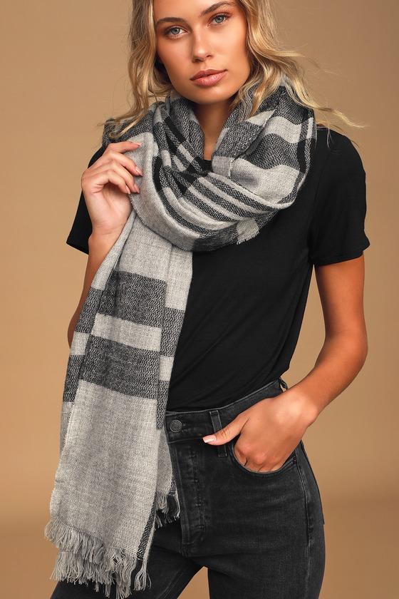 Grey Plaid Scarf - Oversized Scarf - Blanket Scarf - Fringe Sca