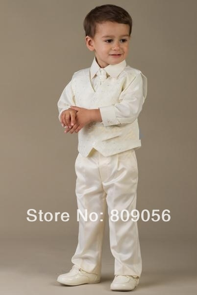 B81 baby long white page boy suit Boy Wedding Suit Boys' Formal .