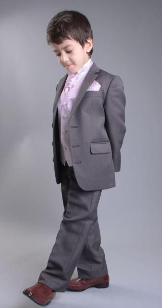 Grey and Pink Page Boy Suit | Grey Cravat Suit | Boys 4 piece suit .