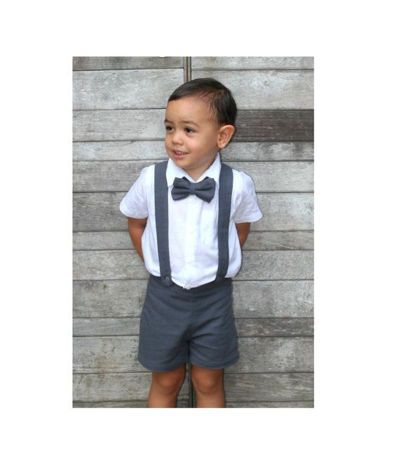 Boy Suspender Shorts - Dark Grey (ONLY),Linen Shorts,Page Boy .