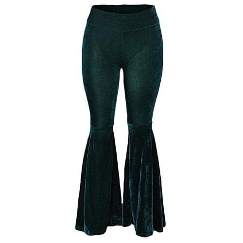 Ladies Fish Legs Suede Palazzo Pant Trouser - Dark Green | Konga .