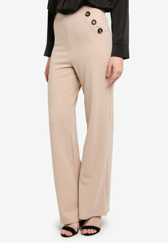 Shop Quiz Stone Button Detailed Palazzo Trousers Online on ZALORA .