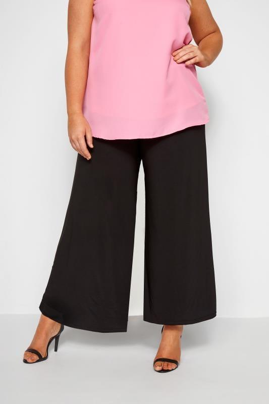 Black Super Wide Leg Jersey Palazzo Trousers, Plus Size 16 to 32 .