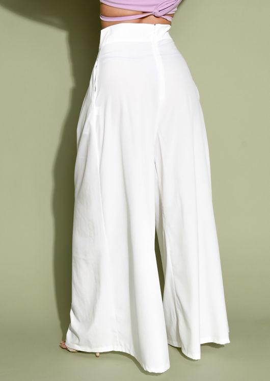 Wide Leg High Waisted Palazzo Trousers White | Lily Lu