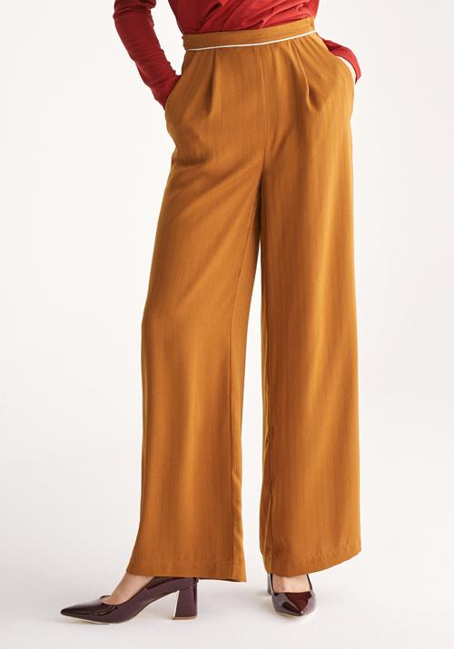 Palazzo Trousers with Subtle Stripes and Waist Piping in Camel .