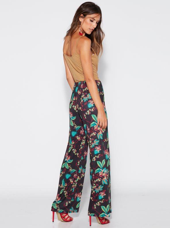 Straight palazzo trousers with flower print. Venca - Venca - 0243