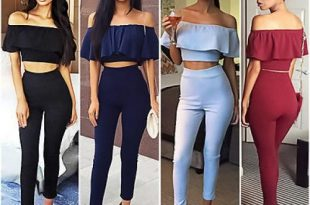 Fashion Women Two Piece Bodycon Jumpsuit Romper Crop Top Pants .