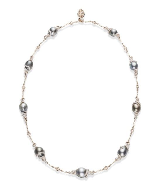 Multi-Colored Black South Sea cultured pearl Baroque and Diamond .