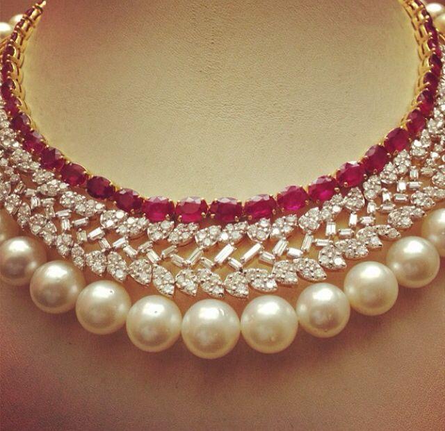 Ravishing Ruby Diamond Pearl Necklace | Pearl and diamond necklace .