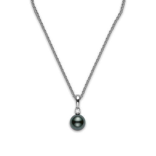Mikimoto Black South Sea Pearl & Diamond Necklace PPS802B