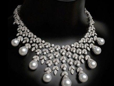 Pearl & Diamond Bib Necklace by Arzano Jewellery .