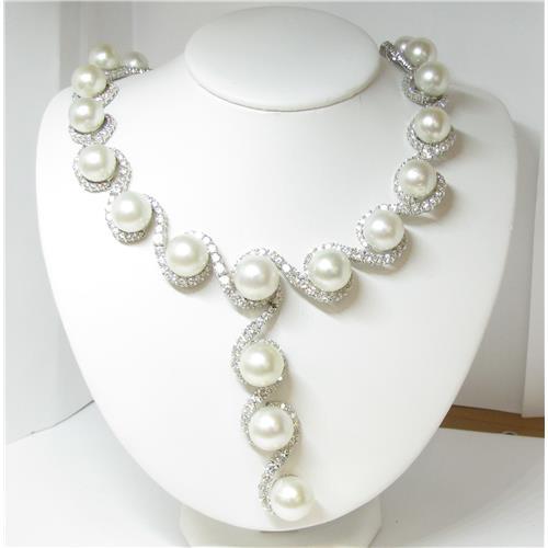 18k Ladies 43 Carat Diamond and South Sea Pearl Necklace Diamond .