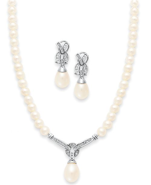 Macy's 14k White Gold Jewelry Set, Cultured Freshwater Pearl and .