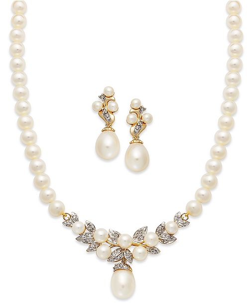 Macy's 14k Gold Jewelry Set, Cultured Freshwater Pearl and Diamond .