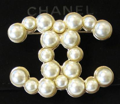 2014 Chanel CC Gold Bubble Pearl Brooch Pin Large New Authent