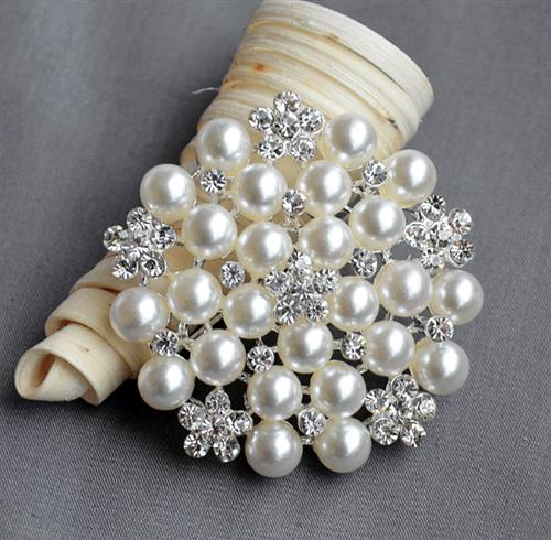 Rhinestone Crystal Pearl Brooch for Flower Bridal Hair Comb Shoe .