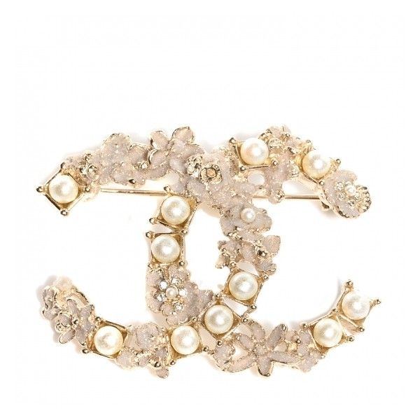 CHANEL Pearl Crystal CC Flower Brooch Dore Blanc Nacre Gold .