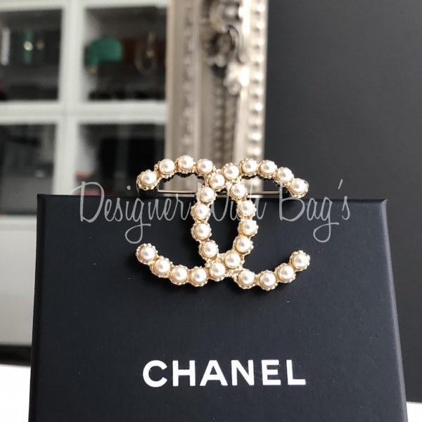 Chanel CC Pearl Brooch New