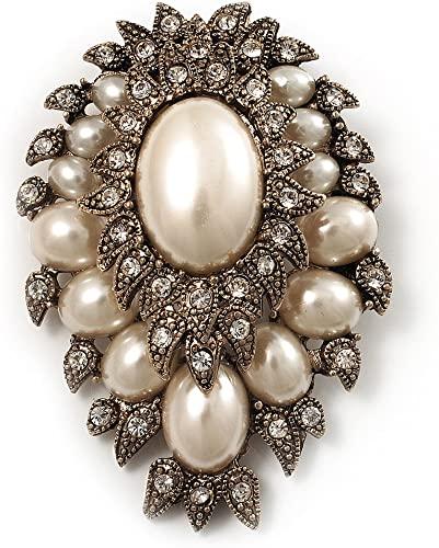 Amazon.com: Avalaya Oversized Vintage Corsage Imitation Pearl .