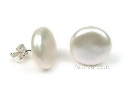 Sterling silver freshwater white coin pearl stud earrings, 12-14mm .