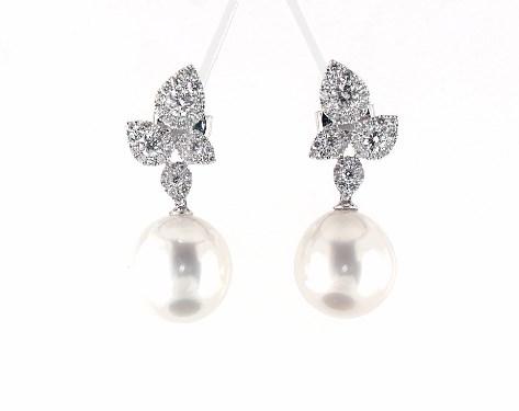 earrings, pearl earrings, 18k white gold teardrop diamond cluster .