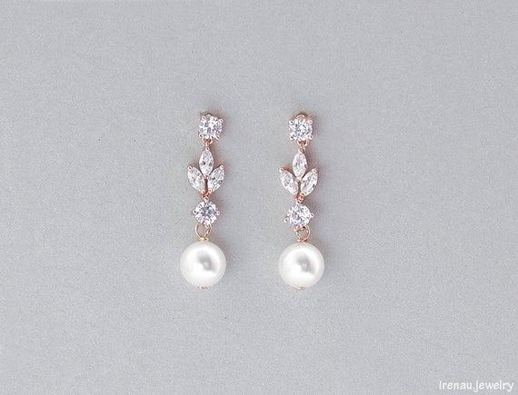 Bridal pearl earrings Crystal pearl earrings Rose gold | Et