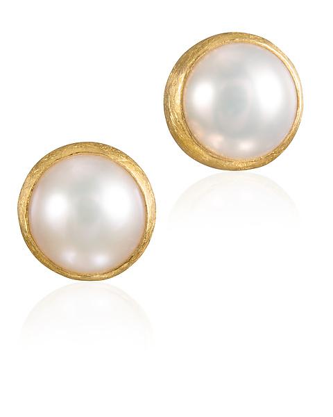 Pearl Stud Earrings by Petra Class (Gold & Pearl Earrings .