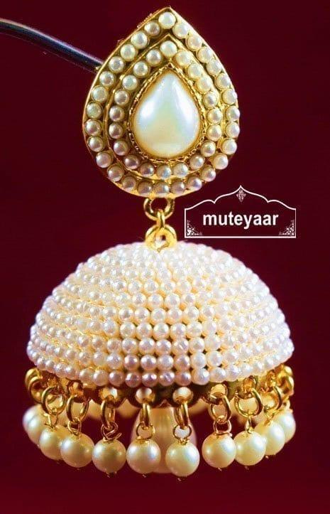 Moti Pearl Jewellery Gold Polish Traditional Punjabi Earrings .