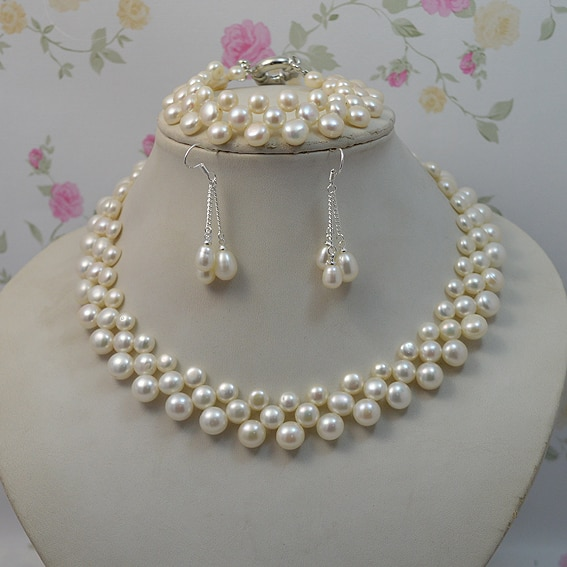 Natural Pearl Jewellery Set White color Woman Freshwater Pearl .