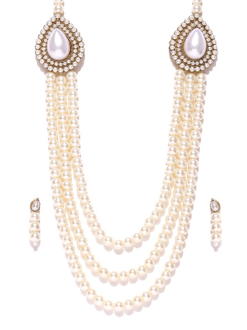 70% OFF on Zaveri Pearls Off-White Synthetic Pearl Jewellery Set .