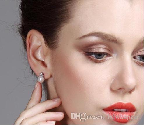 2020 Genuine 8 9mm Pearl Stud Earrings For Women Pearl Jewelry .
