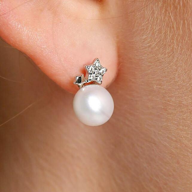 Silver pearl earrings for women, Modern pearl s... - Folk