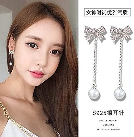 Amazon.com: Fashion S925 Silver Bow Earrings Women Girls Elegant .