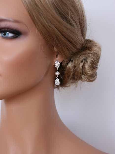 Best Pearl Drop Earrings, Cubic Zirconia, Pearl Earrings, Unique .