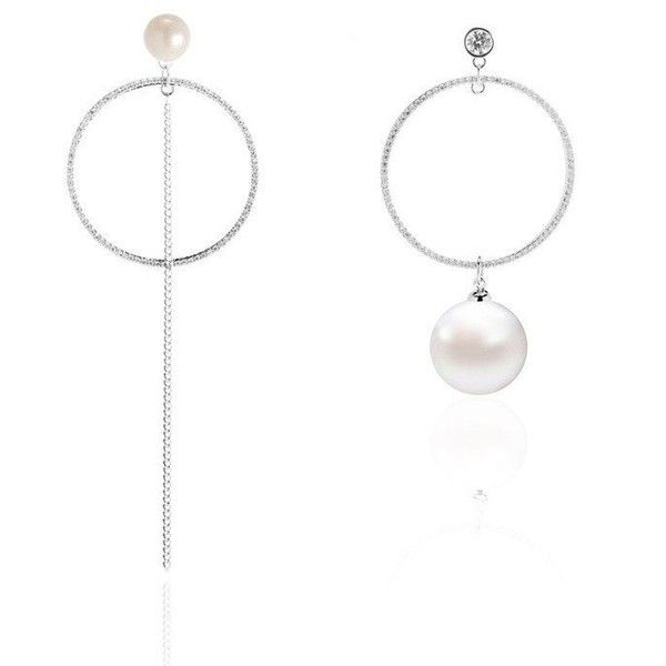 WYA ASYMMETRICAL EARRINGS WITH PEARL ❤ liked on Polyvore .
