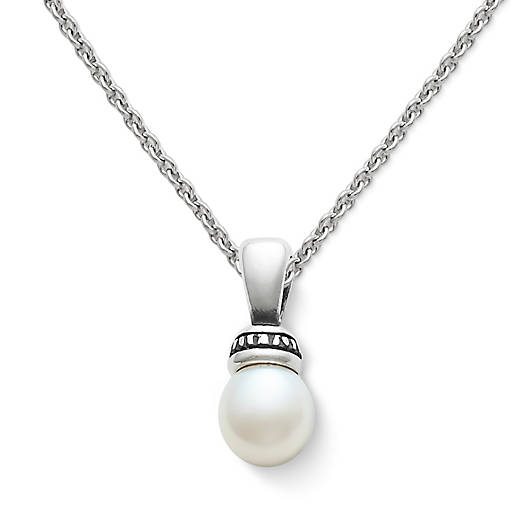 Beaded Pearl Pendant on Fine Cable Chain - James Ave