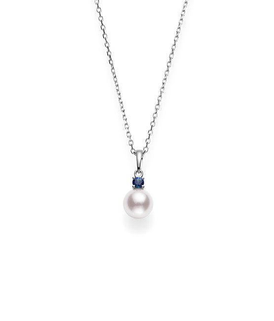 Akoya Cultured Pearl and Sapphire Pendant | Mikimoto Ameri