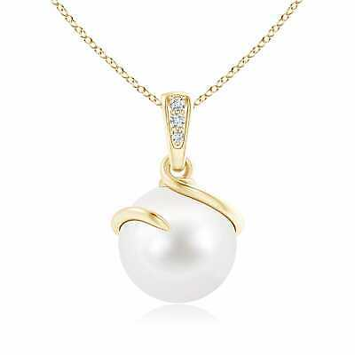 "14k Yellow Gold 10MM Freshwater Pearl Pendant Necklace 18"" Chain ."