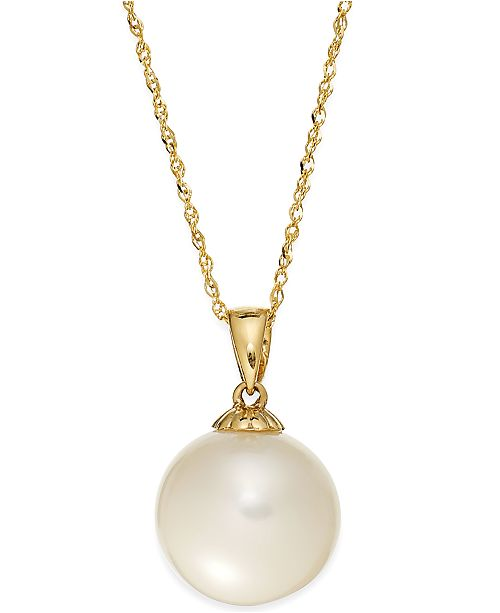 Macy's Pearl Necklace, 14k Gold Cultured Freshwater Pearl Pendant .