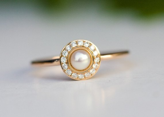 Halo engagement ring, pearl ring in 14k rose gold, Diamond ring .