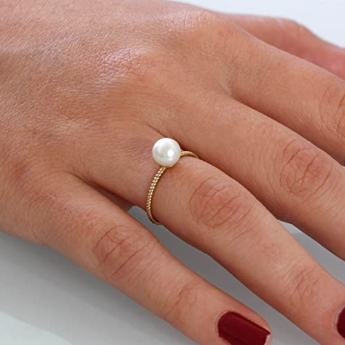 Amazon.com: Gold pearl ring twisted band bridal jewelry special .