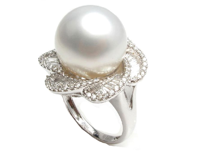 White South Sea Pearl Diamond Ring, 14mm-15mm AA+ - Pearl Rings .