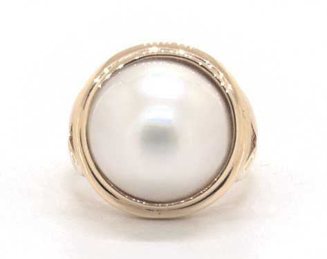 fashion rings, pearl rings, 14k yellow gold mabe pearl ring 14 15 .