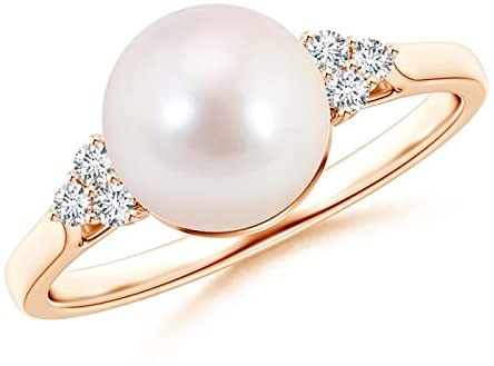 Amazon.com: Akoya Cultured Pearl Ring with Trio Diamonds (8mm .