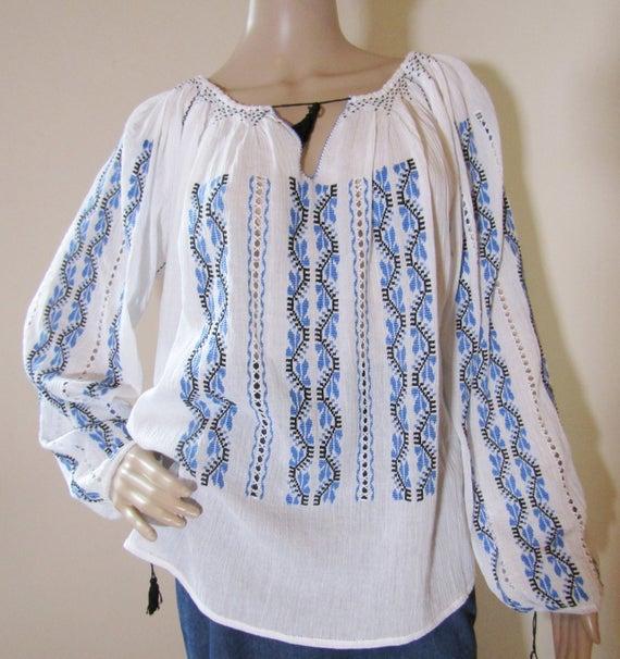 Romanian peasant blouse handmade Romanian ethnic top | Et