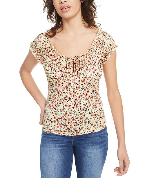 Planet Gold Juniors' Puff-Sleeve Peasant Blouse & Reviews - Tops .